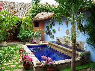 Minimalist small pool design with beautiful garden inside 14