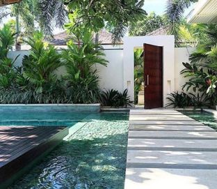 Minimalist small pool design with beautiful garden inside 23