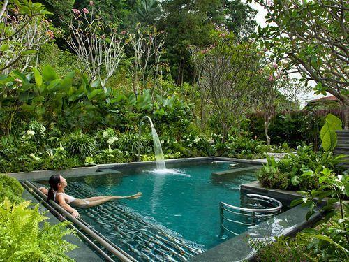 Minimalist small pool design with beautiful garden inside 41