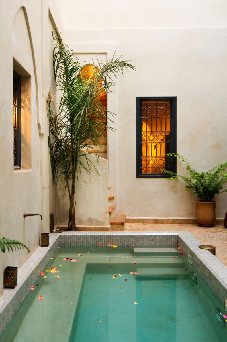 Minimalist small pool design with beautiful garden inside 44