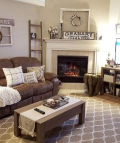 Romantic rustic farmhouse living room decor ideas 03