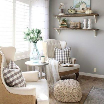 Romantic rustic farmhouse living room decor ideas 32
