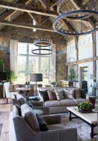 Romantic rustic farmhouse living room decor ideas 34