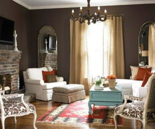 Amazing living room paint ideas by brown furniture 25