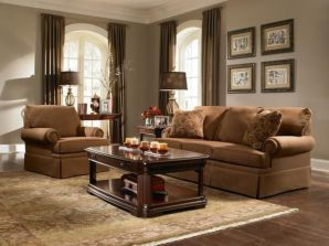 Amazing living room paint ideas by brown furniture 28