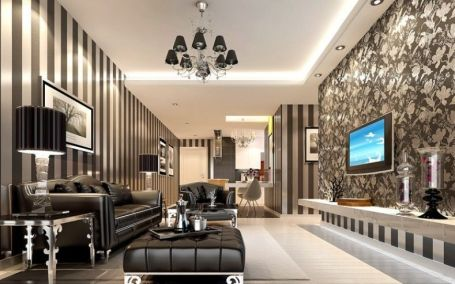 Fascinating striped walls living room designs ideas 05