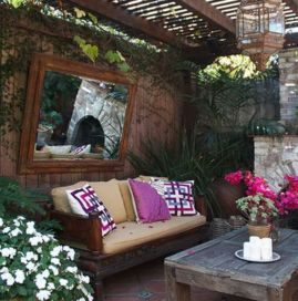 Inspiring outdoor garden wall mirrors ideas 14