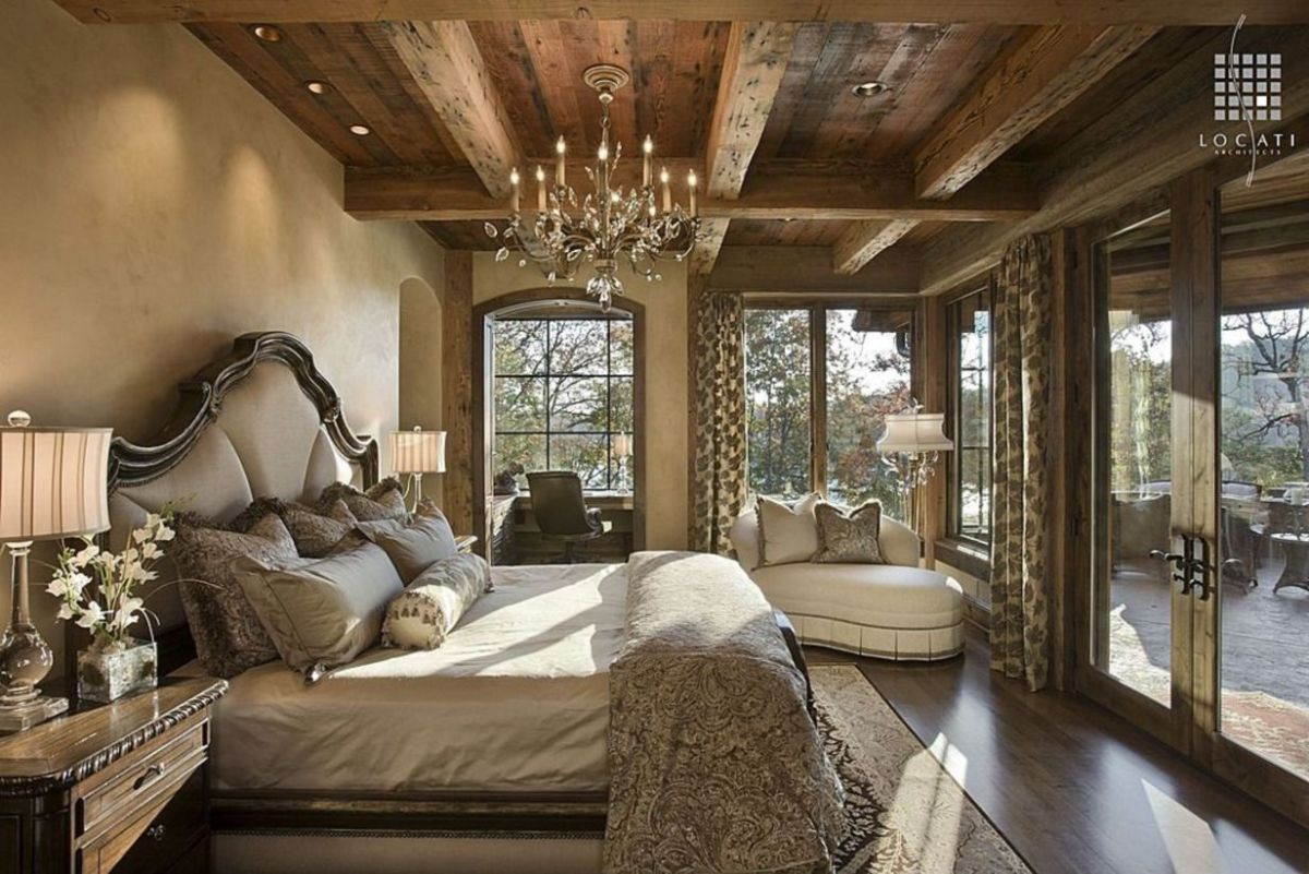 Pretty bedroom designs ideas with exposed wooden beams 42