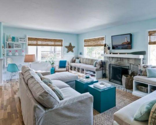 Stylish coastal living room decoration ideas 17