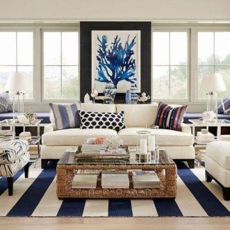 Stylish coastal living room decoration ideas 29