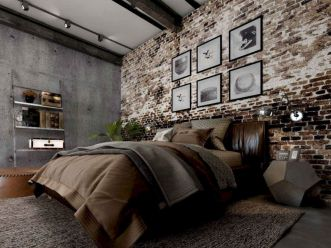 Modern faux brick wall art design decorating ideas for your bedroom 02