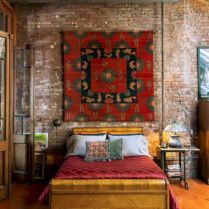 Modern faux brick wall art design decorating ideas for your bedroom 04