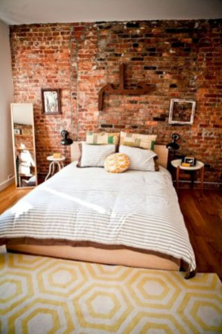 Modern faux brick wall art design decorating ideas for your bedroom 10