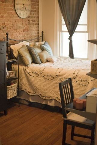 Modern faux brick wall art design decorating ideas for your bedroom 11