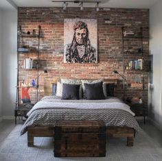 Modern faux brick wall art design decorating ideas for your bedroom 12
