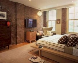 Modern faux brick wall art design decorating ideas for your bedroom 13