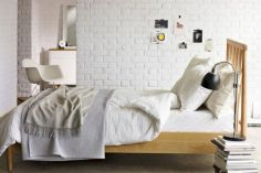 Modern faux brick wall art design decorating ideas for your bedroom 14