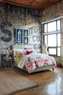Modern faux brick wall art design decorating ideas for your bedroom 36