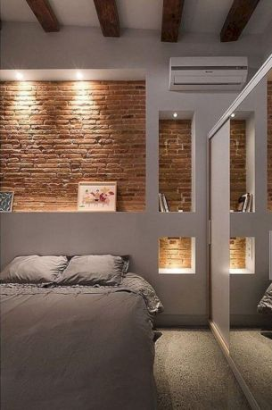 Modern faux brick wall art design decorating ideas for your bedroom 42