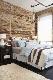 Modern faux brick wall art design decorating ideas for your bedroom 44