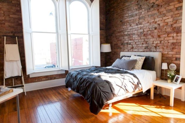 Modern faux brick wall art design decorating ideas for your bedroom 48