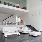 Awesome big living room design ideas with stairs 05