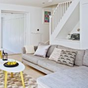 Awesome big living room design ideas with stairs 07