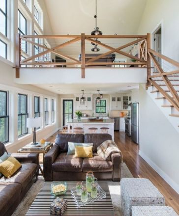 Awesome big living room design ideas with stairs 16