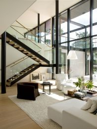 Awesome big living room design ideas with stairs 34