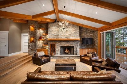 Awesome big living room design ideas with stairs 37