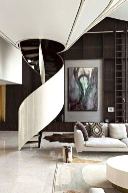 Awesome big living room design ideas with stairs 53
