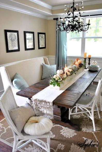 Comfy formal table centerpieces decorating ideas for dining room 45