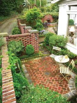 Elegant backyard landscaping ideas using bricks 09