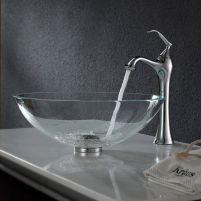 Elegant bowl less sink bathroom ideas 01