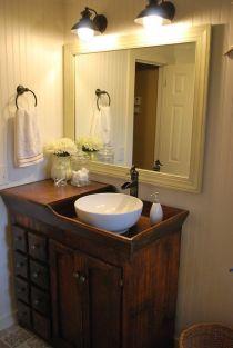 Elegant bowl less sink bathroom ideas 05