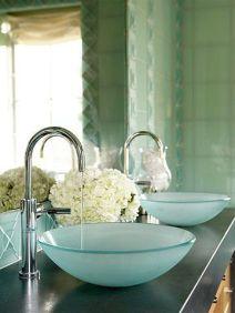 Elegant bowl less sink bathroom ideas 36