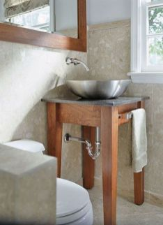 Elegant bowl less sink bathroom ideas 37