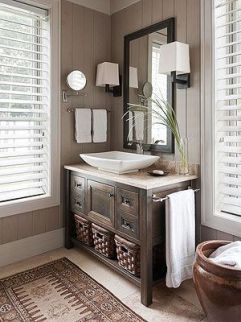Elegant bowl less sink bathroom ideas 38