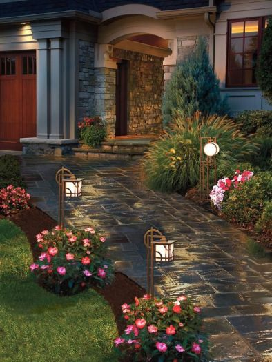 Gorgeous night yard landscape lighting design ideas 01