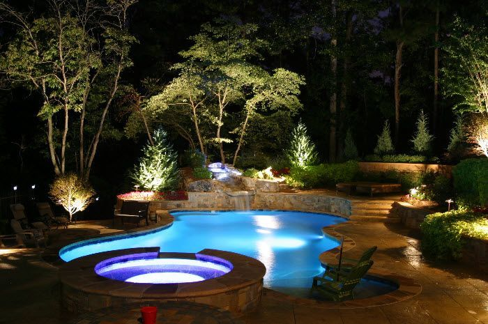 Gorgeous night yard landscape lighting design ideas 46