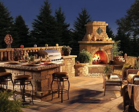 Romantic rustic outdoor kitchen designs with fireplace 07