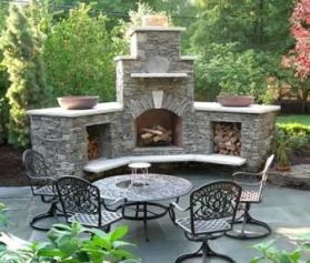 Romantic rustic outdoor kitchen designs with fireplace 13