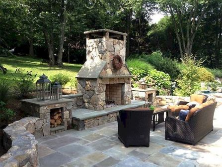 Romantic rustic outdoor kitchen designs with fireplace 17