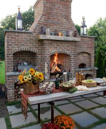 Romantic rustic outdoor kitchen designs with fireplace 18