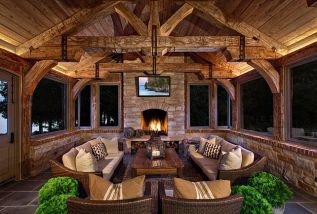 Romantic rustic outdoor kitchen designs with fireplace 22
