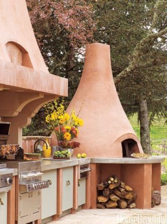 Romantic rustic outdoor kitchen designs with fireplace 24