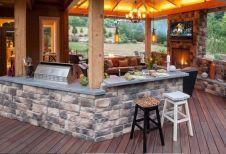 Romantic rustic outdoor kitchen designs with fireplace 27
