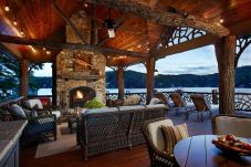 Romantic rustic outdoor kitchen designs with fireplace 28