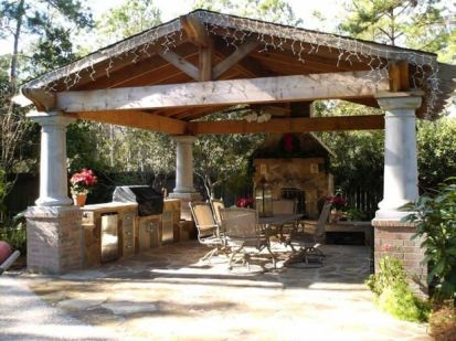 Romantic rustic outdoor kitchen designs with fireplace 29