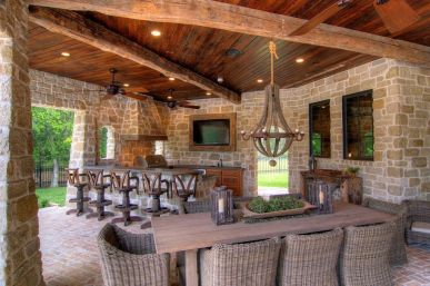Romantic rustic outdoor kitchen designs with fireplace 35